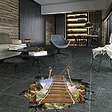 Saingace Wandaufkleber Wandtattoo Wandsticker,3D-Brücken-Fußboden-Wand-Aufkleber-entfernbares Wandabziehbild-Vinylkunst-Wohnzimmer