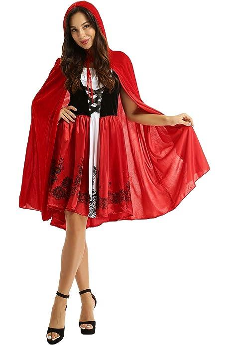 Capa con Capucha Halloween Caperucita Roja Disfraz Adulto Cosplay Vestido,Sin Mangas Fiesta Creativa Vestido de Las Mujeres