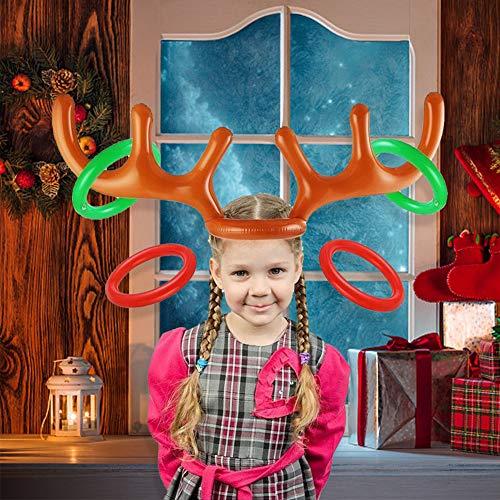 Reno Inflable navideño, 2 Juegos de Disfraces navideños Reibdeer con Correas inflables Juego de Fiesta de día Festivo Juguetes, Que Incluyen 2 astas y 8 Anillos