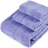 Color Sólido Juego de 3 Toallas de Baño 100% Algodón Absorbencia Rápida 1 Toalla de Baño 1 Toalla de Mano 1 Toalla de Cara Púrpura Claro