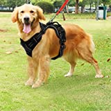 Funkeen Hunde-Geschirr Anti-Traktion für Hunde aller Größen, mit Griff, reflektierend, verstellbar atmungsaktiv langlebig schwarz
