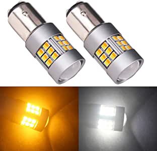 HSUN 1157 BAY15D P21//5W LED Bulbs,Extremely Bright SMD3527 Chips with Projector Canbus Error Free for Daytime Running Lights//Parking Light and Turn Signal Lights,White//Amber Dual Color