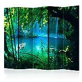 murando – Raumteiler Wasserfall Natur Wasser - Foto Paravent 225x172 cm - einseitig auf Vlies-Leinwand bedruckt - Blickdicht & Textile Haptik - Trennwand - Spanische Wand - Sichtschutz - Raumtrenner - Deko - Design - blau c-B-0132-z-c