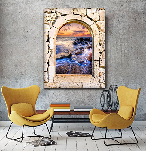 Mystical acque 3d vista da una pietra arco finestra Stampa su tela Wall Art, XL, (Archi Wall Art)