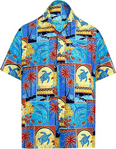 Herbst Blatt 2-licht (LA LEELA männer Hawaiihemd Kurzarm Button Down Kragen Fronttasche Beach Strand Hemd Manner Urlaub Casual Herren Aloha Blau_2 M Likre 1688)