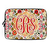 11.6-12 Inch Shabby Chic Floral Laptop Sleeve with Name Cute Flower Notebook Computer Case for Apple MacBook Acer Samsung Ultrabook Asus Fujitsu Lenovo HP Sony Powerbook