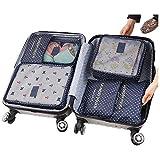 ITraveller 7 Stück Set-3 Verpackungs Würfel+3 Beutel+1 shoes bag Kompresse Ihre Kleidung während der Reise(7 pcs Wellenpunkt) - 3