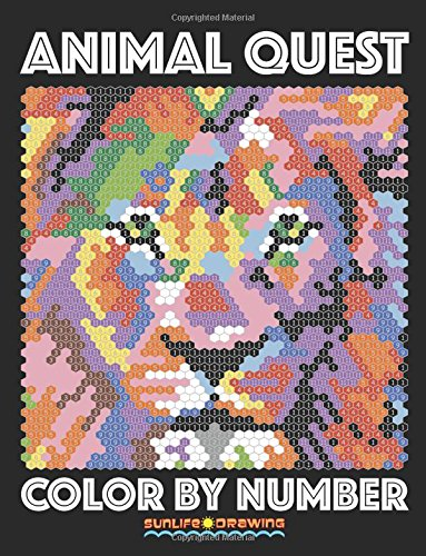 ANIMAL QUEST Color by Number: Activity Puzzle Coloring Book for Adults Relaxation & Stress Relief: Volume 1 (Quest Color By Number Books)