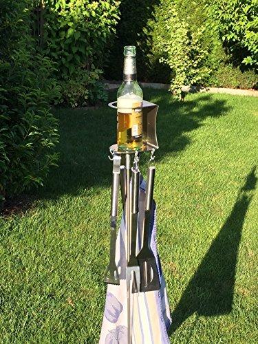 614M%2B3rqahL - 1er Flaschen- und Grillbesteckhalter Bierhalter aus Edelstahl