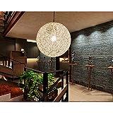Weißer moderner Weidenrattan Pendelleuchte Kugel Ball Ma Rebe Hängender Lampenschirm E27 Deckenleuchte Für Schlafzimmer Wohnzimmer Cafe Shop (Durchmesser 20 cm)