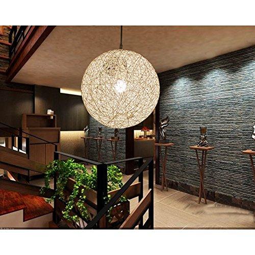 E27 Vintage Style Rustique Boule tréssée lampe suspension Lustre Beige Plafond Décoration pour Chambre Restaurant Couloir Diamètre 20cm