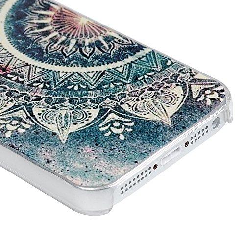 YOKIRIN iPhone 5 / iPhone SE Coque de Protection - Phone Case PC Ultra Mince Dure Léger Cover Ilustration Coloré - Magnétique Dessin Coloré - Glace Totem Fleur