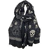 Foulard, sciarpa fazzoletto stampata con teschio, 180 x 100 cm, sfondo nero Venditore francese.