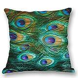 Hangood Cotton Linen Throw Pillow Case Cushion Covers Peacock Feather 18 x 18 inches