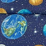 Stoffe Werning Dekostoff Planeten Weltall Marine Canvastoff
