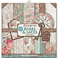 """Stamperia Double-Sided Paper Pad 12""""X12"""" 10/Pkg-Roses, Lace & Wood; 10 Designs/1 Each"""