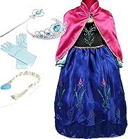 YOGLY Mädchen Prinzessin ELSA Kleid Kostüm Eisprinzessin Set aus Diadem, Handschuhe, Zauberstab