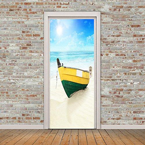 CXQWAN Kreativ 3D Sticker DIY Selbstklebend Wandbild Abnehmbar Wasserdicht Kunst Poster Dekoration Wandsticker Tapete (Strandboot)