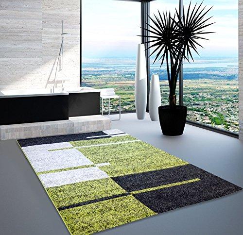 Teppich Modern Designer Wohnzimmer Shake Ebene Grün Beige Schwarz 60x110 cm Grün Schwarz Beige-teppich