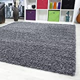 SMALL - EXTRA LARGE SIZE THICK MODERN PLAIN NON SHED SOFT SHAGGY RUG REC & ROUND WEIGHT APPR. 2600 GR DEEPT 50 MM LIVING ROOM SHAGGY RUGS SUITABLE FOR UNDERFLOOR HEATING FLOKATI RUGS, Color:grey, Size:160x230 cm