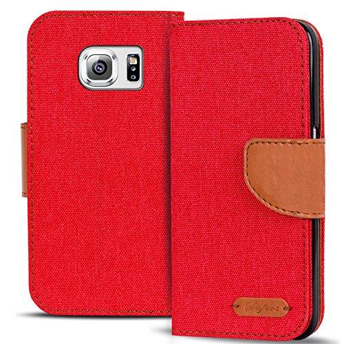 Conie Textil Hülle kompatibel mit Samsung Galaxy S6, Booklet Cover Rote Handytasche Klapphülle Etui mit Kartenfächer