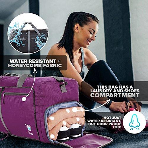 "Bago Duffle Bag For Travel Luggage Gym Sport Camping – Lightweight Foldable Into Itself Duffel (Medium 22"", Purple)"
