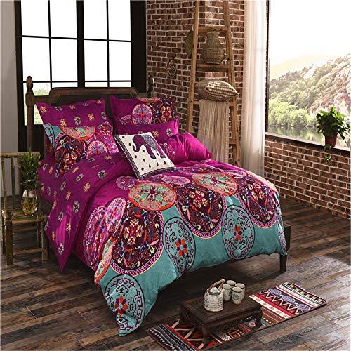 YUNSW Bettbezug mit Reißverschluss Baumwolle Quilt Tröster Decke Fall Pastoraldruck Königin König Bettwäsche B 220x240cm - Set-blau-gold König Tröster