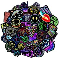 Monico Neon Stickers Pack[50-Pcs] Personalised Vinyl Decals, Cool Color Graffiti sticker, PVC Waterproof Vintage Pop Art Stickers for Skate, Moto, luggage, Water Bottles, Guitar, Laptop, Snowboard