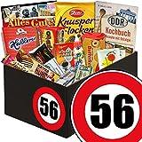 Süßigkeiten-Set zum 56. Geburtstag | Süßigkeiten Box | DDR-Box mit Wurzener Waffelblätter, Othello Keks Wikana, Brausepulver und vielem mehr