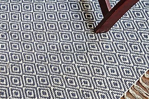 90x180 cm Tapis de chambre multicolore moderne. Tapis tissé plat réversible fait avec du fil 100 % organique et des colorants naturels. 3' x 6' Blue Diamant le motif Area Rug, Style: 2040