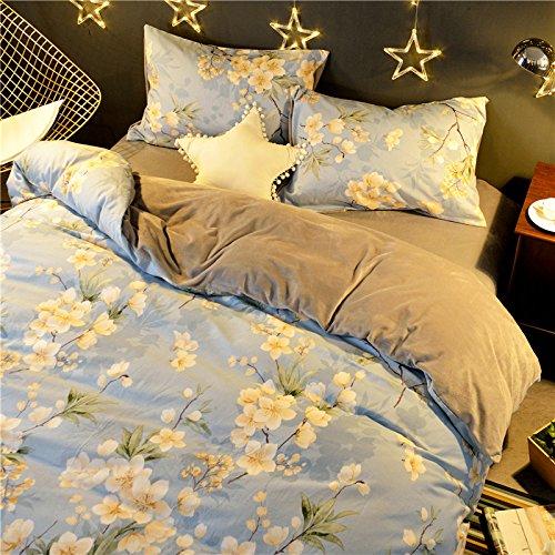 BB.er Baumwolle warme Verdickung Flanell Bettwäsche vier Sätze der Blätter, Kopfkissenbezug, Bettbezug (baby blue) (Baby-bettwäsche-blatt-satz)