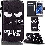 Ooboom® Samsung Galaxy S7 Edge Coque PU Cuir Flip Housse Étui Cover Case Wallet Stand avec Carte de Crédit Fentes Dragonne - Don't Touch My Phone