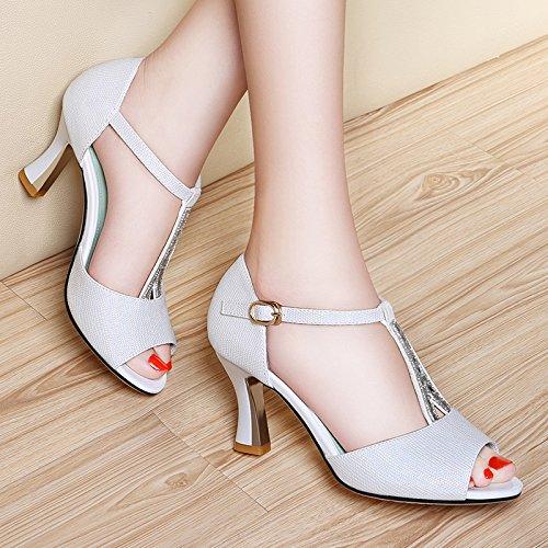 fan4zame Damen Keil Sandalen Perlen über der oberen Plattform High Heels Cool bequem atmungsaktiv Sandalen 35 white