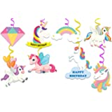 Festiko® Unicorn Theme Happybirthday Theme Party Decoration Swirls with Cutouts for Ceiling,Unicorn Themes Party Favors for K