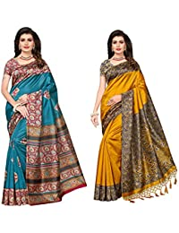 Mrinalika Fashion Women'S Art Silk Sarees Combo Offer ( Sarees Combo Offer Designer Sarees _7_Multi-Coloured_Free...