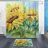 JSTEL Sonnenblumen, 3-teilig Badezimmer Set, waschbar, für den täglichen Gebrauch, wasserdicht, Duschvorhang, 12Haken, Anti-Rutsch-Teppich, 60x 90cm, 2-er Set