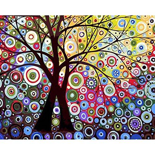KaiDeng Zusammenfassung Sun Tree No-Gerahmte digitale ?lgem?lde DIY Malen nach Zahlen auf Leinwand Sun Diamond Girl