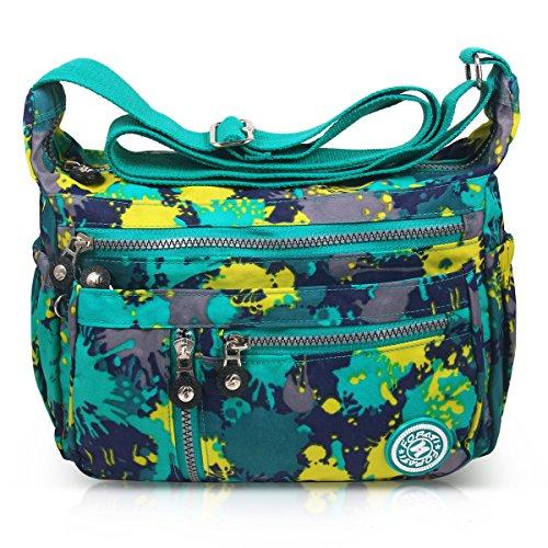 ABLE Waterproof Bolsos de Mujer Nylon Hombro Bolso Bolsa Impermeable para (4-Camuflaje Verde)
