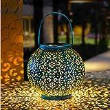 GloBrite - Farol solar para exteriores, lámpara de metal para patio, exterior o mesa (azul/turquesa)