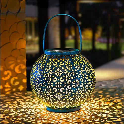 GloBrite Lanterne Solaire Lampe de Jardin Suspendue en Métal pour Patio, Extérieur ou Table (Bleu/Turquoise)