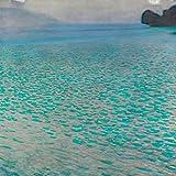 Gustav Klimt Attersee 50x 50cm cuadro impresión sobre panel de madera DM bordo negro