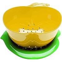 Zak Designs 2147-A850 Passoire Pomme avec Soucoupe-Jaune/Vert