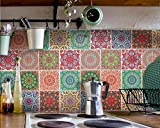 Fliesenaufkleber für Bad Deko u. Küche - Mandala Muster Fliesensticker Bunt 2 | Mosaikfliesen – Fliesensticker selbstklebend | Abwaschbare Fliesenfolie für Wandfliesen | 20x25 cm - Motiv Set - 12 Stück