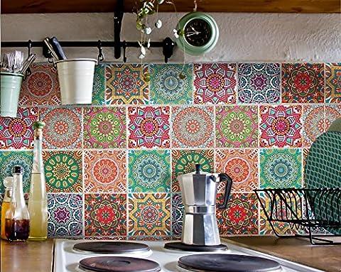 Fliesenaufkleber für Bad Deko u. Küche - Mandala Muster Fliesensticker Bunt 2 | Mosaikfliesen – Fliesensticker selbstklebend | Abwaschbare Fliesenfolie für Wandfliesen | 15x20 cm - Motiv Set - 12 Stück