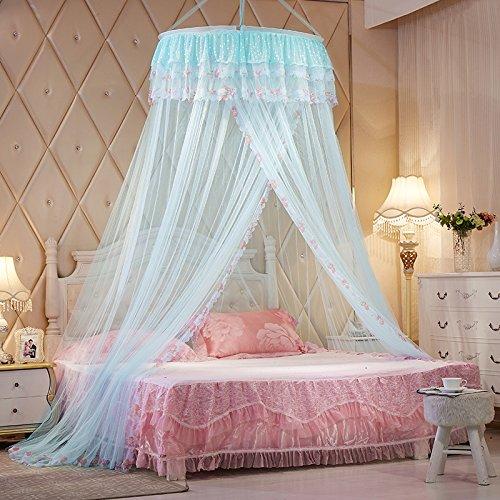 Principessa punta di pizzo in rete canottaggio netto rete di zanzariera a tenda per letto con due letti singoli letto matrimoniale queen blu chiaro