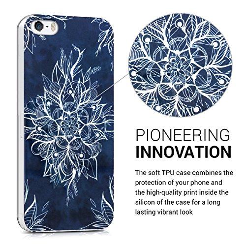 kwmobile Housse miroir pour Apple iPhone SE / 5 / 5S Étui TPU en silicone cover portable, housse de protection en or rose miroitant Fleur en batik IMD blanc bleu foncé