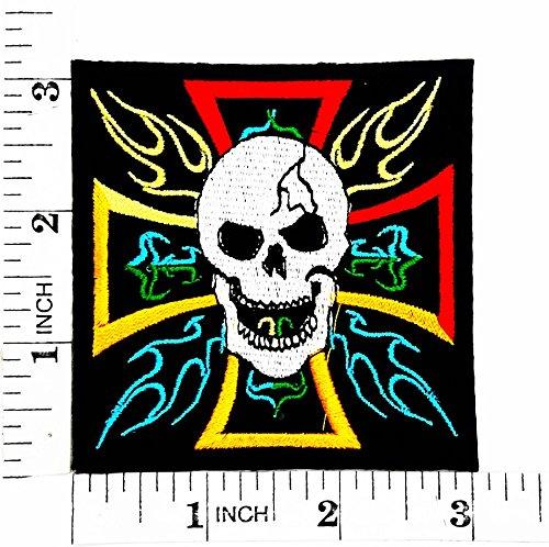 Skull Ghost Hog MC Punk Biker Back Patch Hand gestickt und Bügelbild Symbol Motorrad Jacke T-Shirt patches aufnäher (Kostüm Rider Die Ghost)