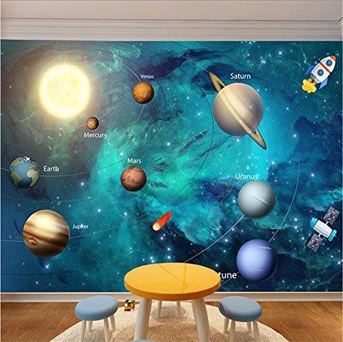 MOPP Tapeten Wallpaper Kreative Nette Rocket Planet Pattern 3D Benutzerdefinierte Wandbild für Kinder Schlafzimmer/Wohnzimmer/Kindergarten/Themenhotels/Vergnügungsparks, B (2-wallpaper-grenze)