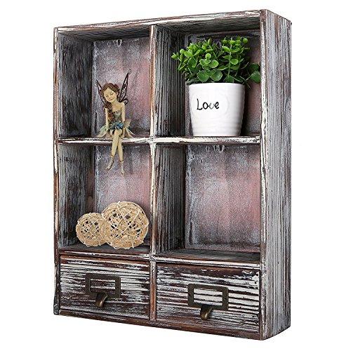 Rustikal Torched Holz Wand montiert Shadow Box w/kleine Regal, 2Schubladen und Etikettenhalter, dunkelbraun -