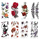 Kreative (8Blätter) temporäre Tattoos für Erwachsene, Fake Tattoo Sticker Blume Schmetterling perfekt, langlebig   Wasserdicht